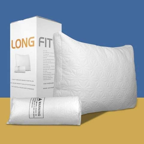 Long FIT New Luxury Pillow - Adjustable Pillow for Sleeping - The Best Shredded Memory Foam,Premium Cotton Core with Cooling Gel Infused Bed Pillows - Washable Cover from Bamboo Derived Rayon