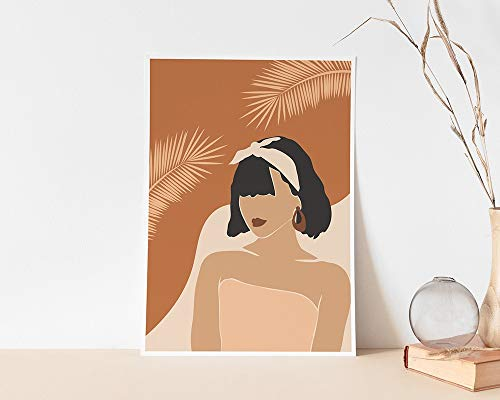 Mujer Boho Lámina Cartel de la mujer del bloque de color Cartel mínimo de la hoja de palma Pintura decorativa sin marco de la familia del arte de la pared de terracota simple A34 50x70cm