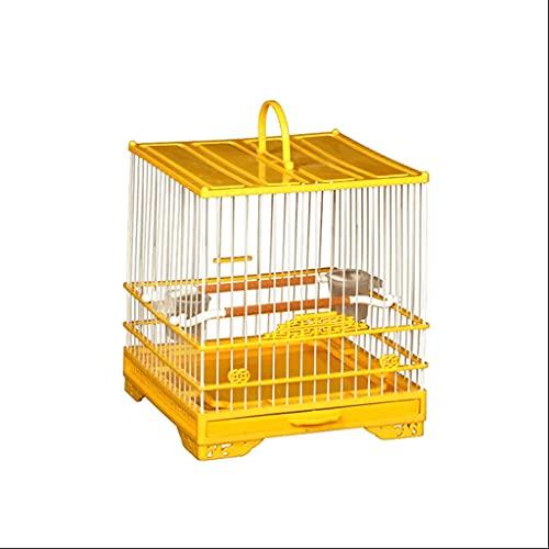 ZANZAN Gabbie per Uccelli Decorative Gabbia di Volo di Uccello Quadrato con Supporto e Alimentatore rotolante, Gabbia per Uccelli in plastica Portatile con Vassoio per Piccoli Uccelli-Giallo
