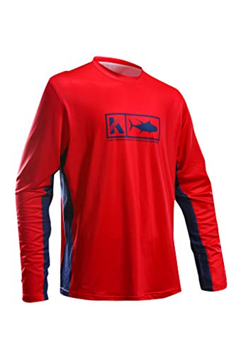 Performance Fishing Shirt Vented Long Sleeve Shirt Sun Protection UPF50 Moisture Wicking Rash Guard with Mesh Sides Loose Fit, Red,Large