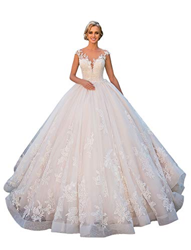 Clothfun Women's Cap Sleeve Lace Beach Wedding Dresses for Bride 2021 aditop A-line Bridal Ball Gowns Style6 White 16