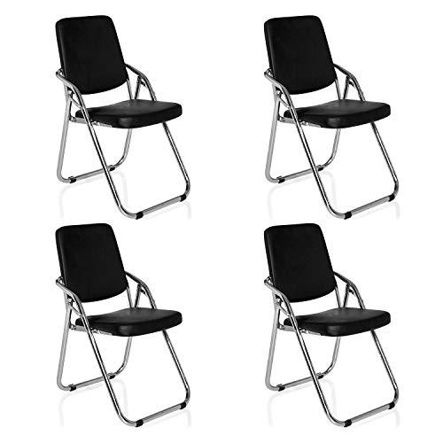 hjh OFFICE 706301 visiteurs Chaise de conférence, Imitation Cuir, Noir, 40 x 48 x 91 cm