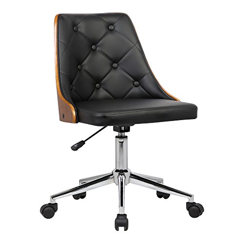 Armen Living Diamond Office Chair in Black Faux Leather and Chrome Finish