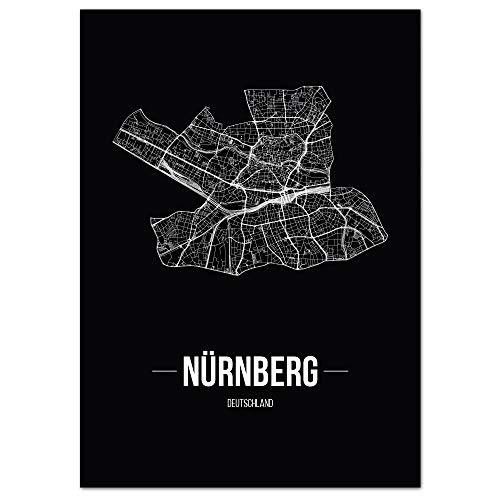 JUNIWORDS Stadtposter - Wähle Deine Stadt - Nürnberg - 40 x 60 cm Poster - Schrift B - Schwarz