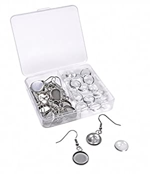 Shapenty Stainless Steel Earring Wire Hooks Clasp with 12mm Round Post Cup Tray and Glass Dome Cabochon Setting for DIY Dangle Earrings Jewelry Finding Making 20PCS/10Pairs  Silver