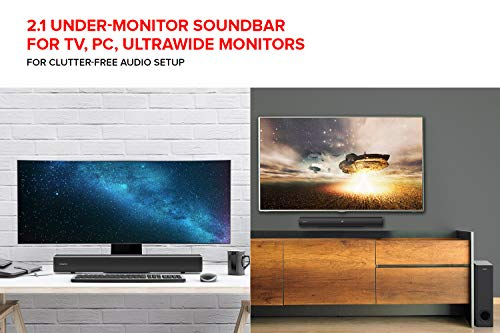 Creative Stage 2.1 Channel Under-monitor Soundbar with Subwoofer for TV, Computers, and Ultrawide Monitors, Bluetooth/Optical Input/TV ARC/AUX-in, Remote Control and Wall Mounting Kit