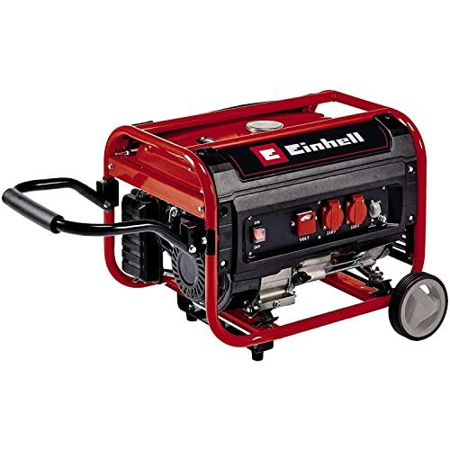 Einhell 4152551 Stromerzeuger (Benzin) TC-PG 35/E5 (max. 3.1 W, emissionsarmer 4-Takt-Motor, 2x 230 V-Steckdosen, 15 l-Tank, AVR-Funktion, Überlastschalter, Ölmangelsicherung), Rot, Schwarz