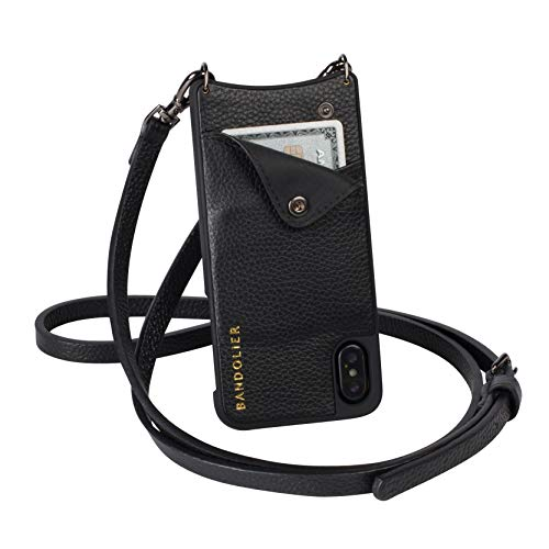 Bandolier Emma Crossbody Phone Case and Wallet - Black Leather with Gold Detail - Compatible with...