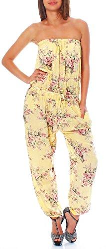 malito dames onesie gebloemd | Overall met stoffen riem | Jumpsuit met bloemenmotief - Playsuit - Romper 1495