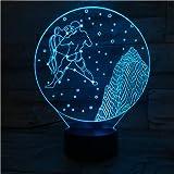 HNXDP Signos del zodiaco occidental Luz nocturna LED Sensor táctil 7 Cambio de color Niños Niños Bebé Luz nocturna Regalo Acuario Lámpara de mesa escritorio