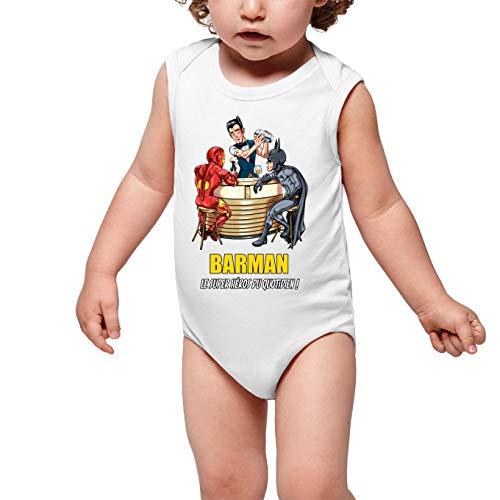 Body bébé sans Manches Blanc Parodie MCU - Justice League - Iron Man et Batman et.Barman - Barman, Le Super Héros du Quotidien ! (Body bébé de qualité supérieure de Taille 3 Mois - imprimé en Fran