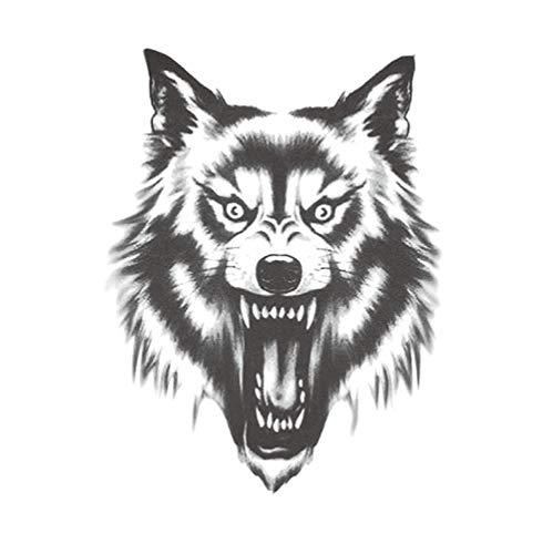 3 feuilles de loup gris autocollants de tatouage temporaire pour les hommes Halloween Cosplay Costume Party