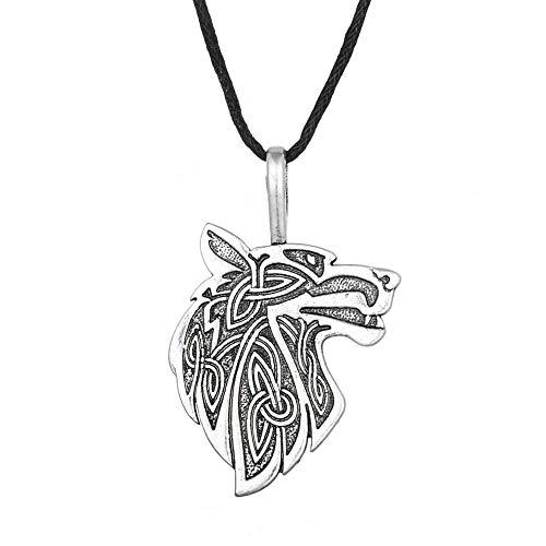 Collar con diseño de lobo con texto en inglés «Viking» – Animal Totem del valor y de la fuerza – Símbolo tribal de la naturaleza, runa celta – Regalo original para hombre mujer unisex – Color plateado