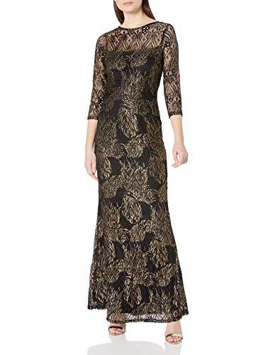 Marina Damen Foiled Metallic Lace Gown Cocktailkleid, schwarz/Gold, 34