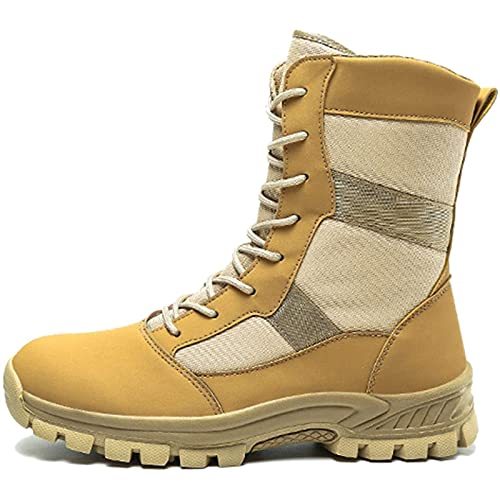 Ractical Boots Mens Military High-Top Lace-up Army Patrol Boot Outdoor Camping Hiking Desert Combat Boot Lightweight Breathable Safety Work Shoes