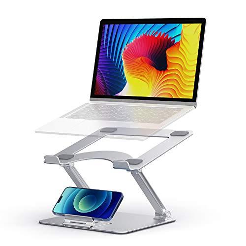 Quntis faltbarer Laptop Ständer mit abnehmbarer Handy Halterung, höhenverstellbare Notebook Ständer für Schreibtisch Homeoffice, Laptophalter für 10 bis 17 zoll MacBook Air/Pro HP Dell Lenovo Matebook