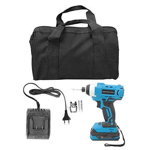Llave de impacto inalámbrica Batería de iones de litio Destornillador y kit de cargador Azul y negro 54 * 34 * 42 cm/21,3 * 13,4 * 16,5 pulgadas