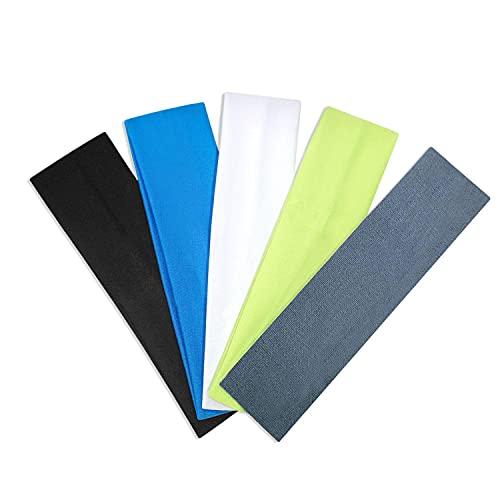 Diademas elásticas de algodón, 5 unidades, banda elástica para el pelo, para mujeres o hombres, deportes, yoga, limpieza facial, fitness, ciclismo