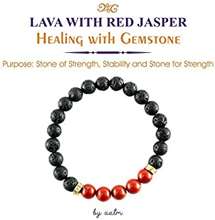 Aatm Natural Healing Gemstone Beautiful with Connector Charm Bracelet (Beads Size - 7-8 mm) (Lava & Red Jasper)