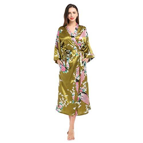 Vrouwen Kimono Robe Long Gewaden Met Pauw En Bloesems Printed Kimono Nachtjapon, Kamerjassen Zijde Satijn Nachtkleding Pyjama Badjas Vrouwen Nightie Nachtkleding (Color : Olive green, Size : M)