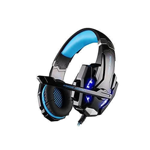 G9000 - Auriculares para juegos con cable de 40 mm, con luz LED y micrófono, aislamiento de ruido ambiental suave sobre las almohadillas de 3,5 mm conector