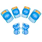XJD Kids Protective Gear Set Girls Boys Toddler Knee Pad Elbow Pads Guards Wrist Guards for Skateboard Cycling BMX Bike Scooter Rollerblade Roller Skates Age 3-8, SkyBlue S