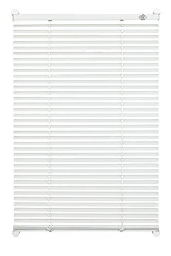 GARDINIA Alu-Jalousie zum Klemmen, Sicht-, Licht- und Blendschutz, Alle Montage-Teile inklusive, Aluminium-Jalousie mit 2 Bedienschienen, Weiß, 70 x 130 cm (BxH)