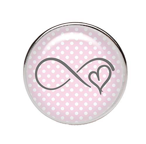 KT-Schmuckdesign Schiebeperle rund, rosa weiß gepunktet, mit Infinity Herz, versilberte Fassung