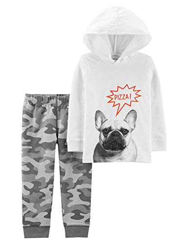Carter's Baby Boy's Pizza Dog Hoodie Pullover Tee and Camo Pants (24 Months)