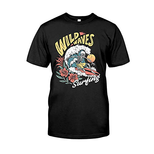 Vintage Retro Wild Waves Skeleton Surfing, Riding The Waves Surfers, Surf Style, Skull & Skeleton Lover, Summer Is Coming,Birthday Gift T-Shirt