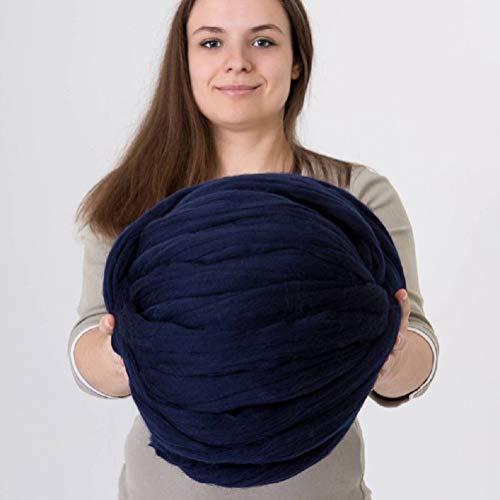 DIRUNEN Merino Wool Yarn Big Chunky Yarn Super Wool Roving Extreme Arm Knitting Giant Chunky Knit Blankets Throws Navy Blue 8 lbs
