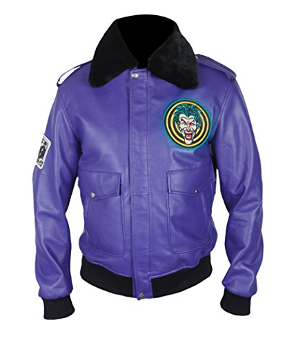 F&H Men's Henchman Goon Purple Bomber Faux Fur Collar Jacket