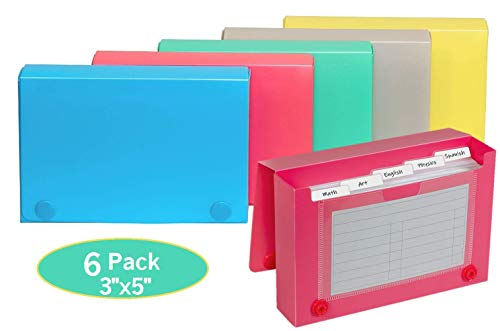 1InTheOffice Index Card Case 3' x 5', Index Card Holder 3x5, Assorted Colors (6 Pack)