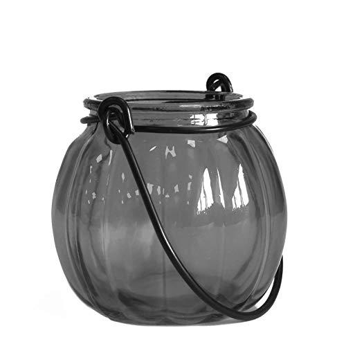 Linterna de calabaza en cristal reciclado–gris