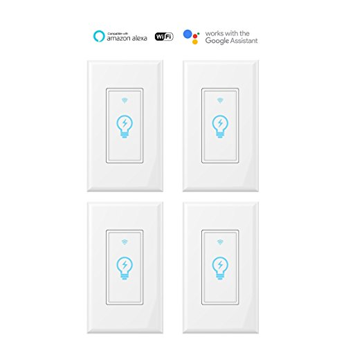 Smart Switch, WiFi Light Switch In-wall Wireless Compatible With Amazon Alexa and Google Home, Timing Function, Suit for 1/2/3/4 Gang Switch Box, Neutral Wire Required Micmi, 4pack