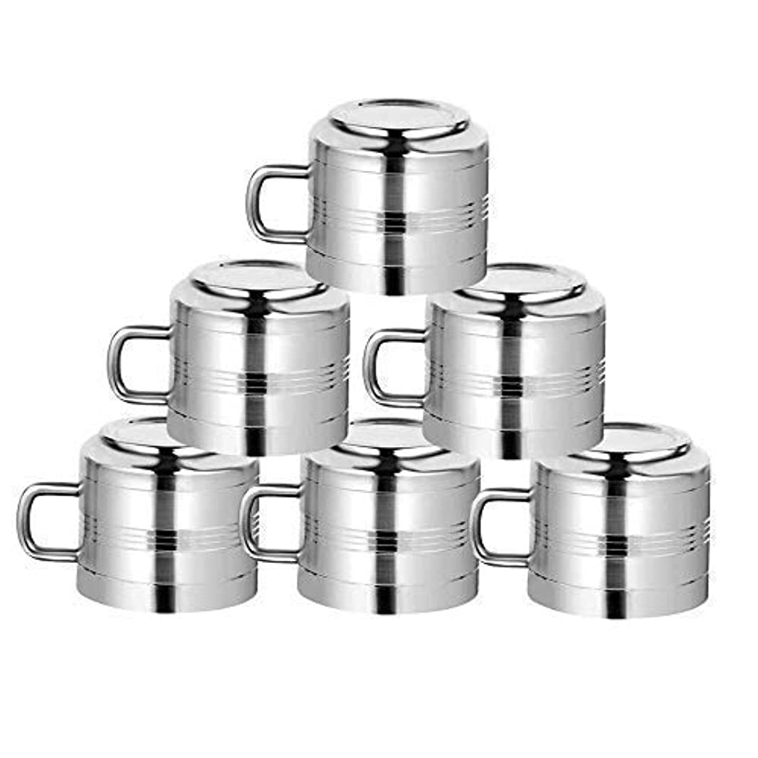 WhopperOnline Set of 6 Double Wall Stainless Steel Tea & Coffee Cups, Drinking Cups for Kids, Reusable, Mirror Finish & Dishwasher Safe - Silver