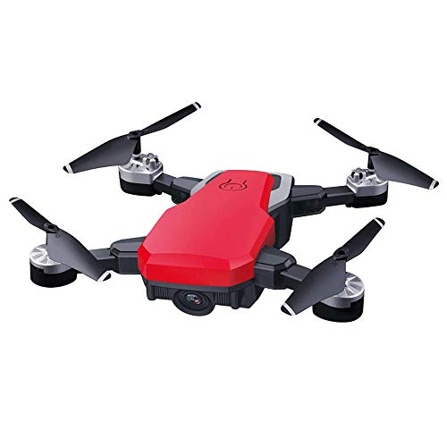Slreeo Long Battery Life Foldable Drone, High-Definition Real-time Aerial Photography Quadcopter, 2.4GHz Remote Control Airplane Helicopter Toy Model, One-Key Lift Recall (Color : Red)