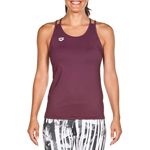 Arena W Tank Top Slim Strap Camiseta De Tirantes Finos Mujer Gym, Red Wine, M