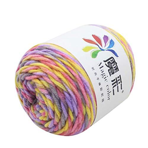 Dasongff Color Handstrickgarn Häkelgarn Regenbogen Wolle Baby Stricken Wolle Garn Thread Rainbow Farbverlauf Stil Kammgarn Garn für DIY Schal Pullover