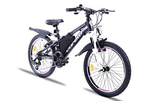 Corelli Twister Mountainbike 20 Zoll, 24 Zoll oder 26 Zoll mit Aluminium-Rahmen, V-Brake, Shimano 21 Gang-Schaltung, Gabelfederung, als Damen-Fahrrad, Mädchen-Fahrrad, Kinder-Fahrrad. (pink, 20.0)