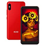 KXD 6A Smartphone ohne Vertrag 3G Entsperrtes Handy Dual SIM Android 5.5 Zoll Vollbild 5MP Kameras, Gesichtsentsperrung, 3 in 1 Kartensteckplätze Smart Phone, Rot