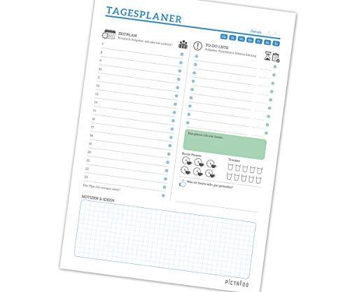Tagesplaner Block mit 50 Blatt A4, mit Zeitplan, To-Do Liste inkl. Priorisierung, Notizblock und Erinnerungshilfe für Trinken und Pausen, dein Alltagshelfer für mehr Produktivität 2020 (blau)