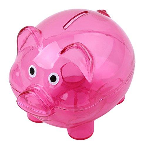 ODN Sparschwein aus Kunststoff Transparent Kreatives Schwein Form Spardose für Kinder (Rose Rot)