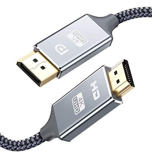DisplayPort auf HDMI Kabel 4K 1m,DP zu HDMI Kabel Nylon Geflochtener,Snowkids Display Port Stecker zu HDMI Stecker UHD 4K verbindungskabel für HDTV,Monitor,Laptop,PC,Beamer,Grafikkarten-Grau
