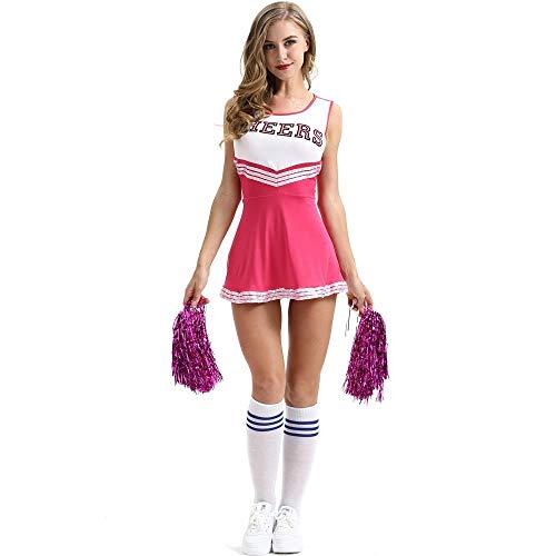 fagginakss Damen Cheerleader Cheerleading Kostüm Mädchen Uniform Karneval Fasching Party Halloween Kostüm Kleid Minirock Bekleidung mit 2 Pompoms