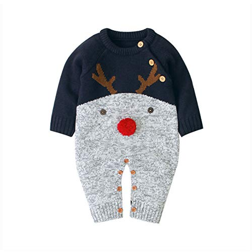 YGZD Baby Autumn Winter Clothing Xmas Baby Kids Knitted Infant Romper Sweater Jumpsuit Boy Girl Deer Elk Knitwear Warm Clothes