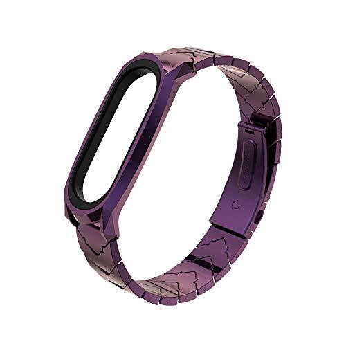 PINHEN Acero Inoxidable Compatible con Mi Band 5 Pulsera – Correa de repuesto de metal con herramienta de extracción de correa de repuesto para Xiaomi MiBand 5/4/3 (Purple)