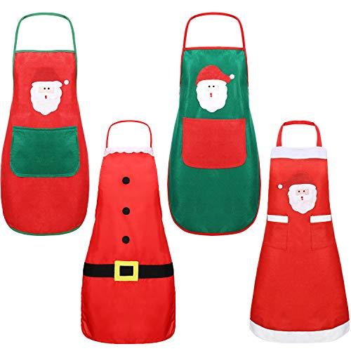 4 Pezzi Natale Grembiule Adulti da Cucina Grembiule da Cucina Donna Grembiuli Babbo Natale per...
