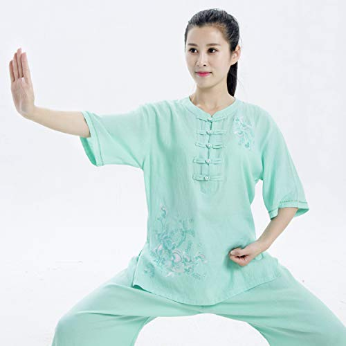 HYMY Chino Tradicional Qigong Artes Marciales Tai Chi Ropa Tai Chiquan Uniforme De Lino Bordado De Algodón De Verano, Damas (XS-XXL),Green-XL