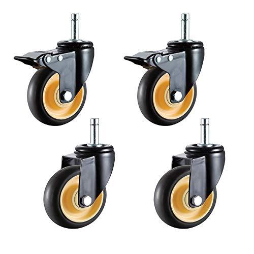 YWTT Ruedas giratorias para Muebles de TPR de Alta Resistencia, Ruedas giratorias, Ruedas de Repuesto industriales, para carritos, Banco de Trabajo, vástago M11x38 mm, 4 Piezas (universal100 mm /